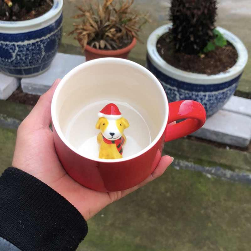 Christmas Cups 400 Ml RED 3D Milk Cup with Animal Cute Cartoon Panda Rabbit Creative Ceramic Cup Heat resistant Coffee Mugs in Mugs from Home Garden