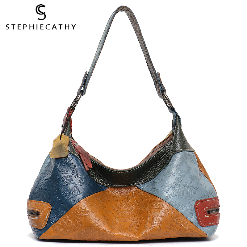 SC Women Pillow Shoulder Bags Large Female Leather Geometric Colorful Patchwork Tote BagS Casual Vintage Style Messenger BagS