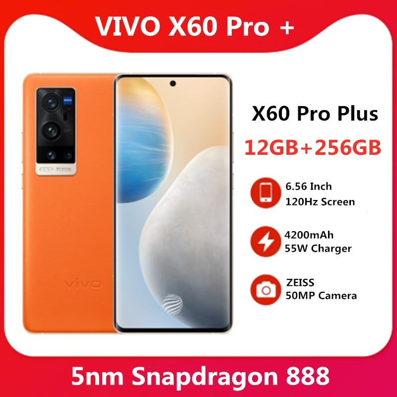 Оригинальный VIVO X60 Pro Plus 12 Гб 256 5G Snapdragon 888 5nm супер 6,56 ''120 Гц активно-матричные осид, Экран супер флэш-Зарядное устройство мобильный телефон