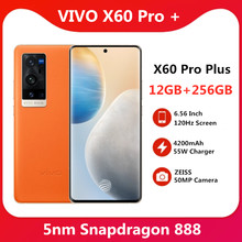 VIVO originais X60 Pro Plus 12GB 256GB 5G Snapdragon 888 5nm Super 6.56 ''120Hz Tela Amoled Super Flash Carregador Do Telefone Móvel