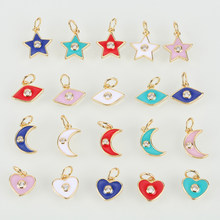 Charm Charms Pendant for Jewelry Making Vintage Copper CZ Zircon Fashion Moon Star Eye Heart Diy Necklace Accessories Wholesale(China)
