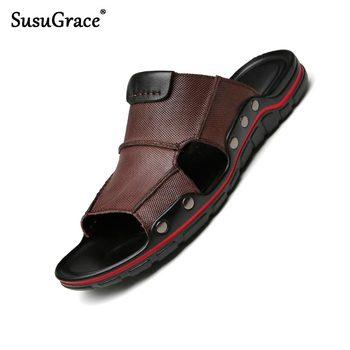 SusuGrace skórzane kapcie męskie Outdoor Plus Size skórzane sandały modne obuwie codzienne letnie antypoślizgowe kapcie Hombre tanie i dobre opinie Prawdziwej skóry Skóra bydlęca Podstawowe Classics Slip-on Mieszkanie (≤1cm) Pasuje prawda na wymiar weź swój normalny rozmiar