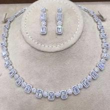 GODKI מפורסם מותג 2019 קסמי חתונה סטי תכשיטי ביצוע תכשיטי סטים לנשים הצהרת שרשרת עגילי אבזרים
