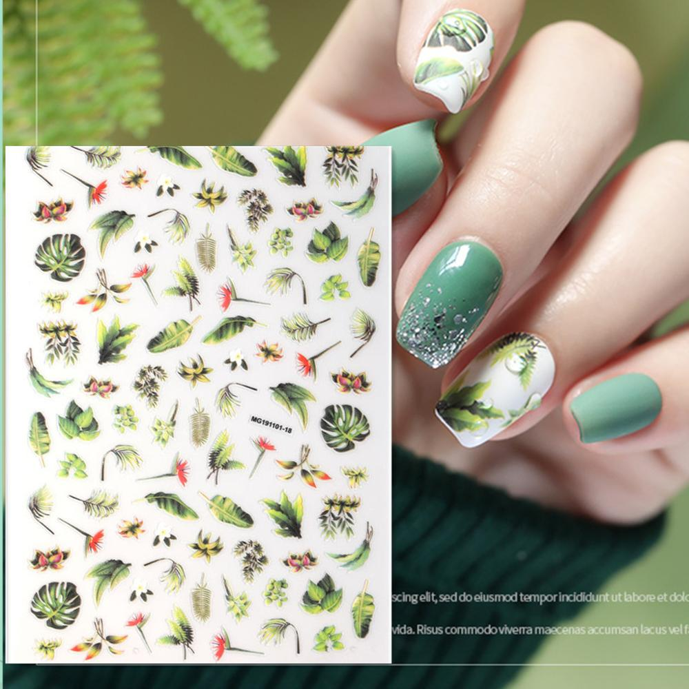Newest WG1101-18spring Flower Pattern 3d Nail Sticker Japan Style Nail Decal Back Glue DIY Decorations Tips