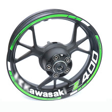 Para kawasaki z400 z 400 motocicleta reflexivo aro da roda tarja decalque adesivo dianteiro traseiro conjunto completo