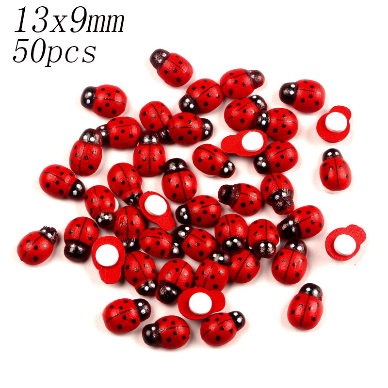 LF 50pcs Red Wooden Ladybug Flatback Cabochon Decoration Wood MDF Handicraft For Scrapbooking Cardmaking Cute DIY Accessories in Wood DIY Crafts from Home Garden