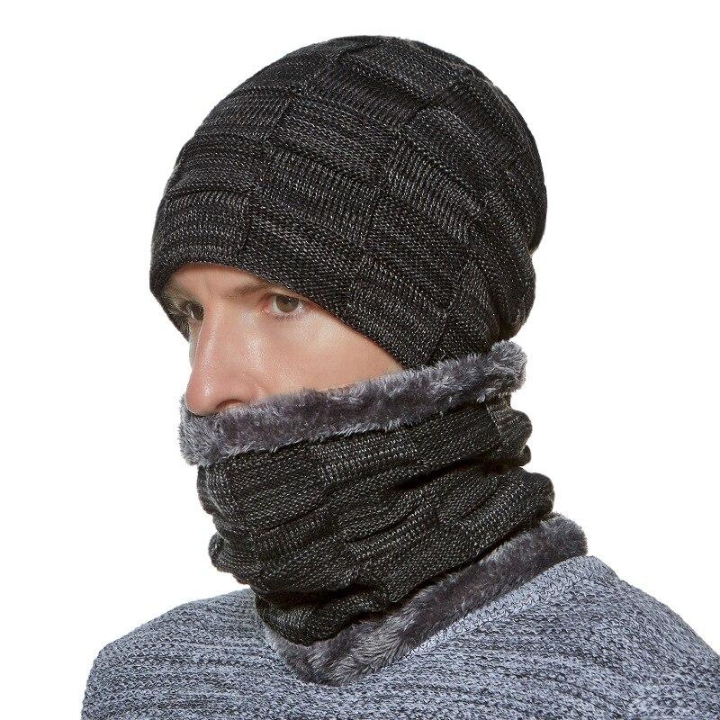 Men Hat Scarf Set Winter Fleece Knit Warm Beanie Skiing Outdoor Accessory For Boys
