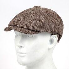 Новая шерстяная твидовая кепка газетчика, мужская и женская шапка с узором в елочку, Шерстяная Смесь, яблочная Кепка, восьмипанельная Фуражки