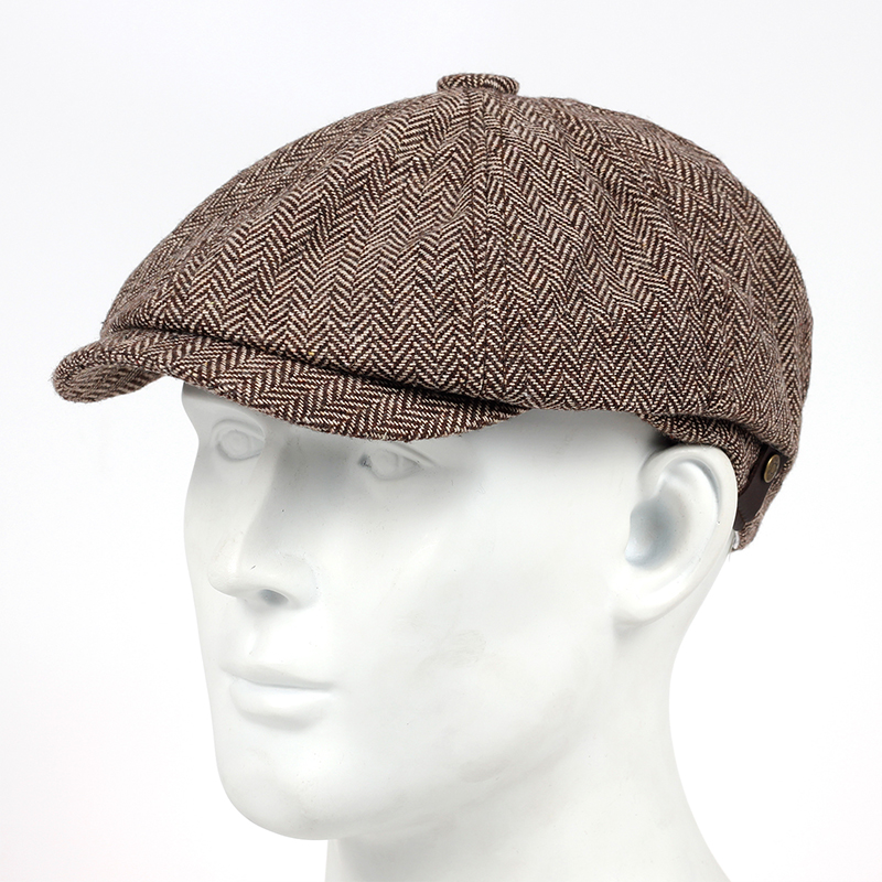 2019 New Woollen Tweed Newsboy Cap Men Women Herringbone Mens Hat Wool Blend Apple Caps Eight Panel Cabbie Hats