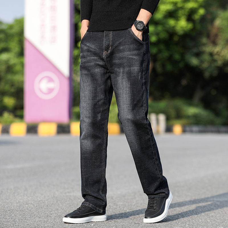 Men Jeans Black Classic Relaxed Fit Denim Spijkerbroeken Heren Pants Biker Stretch Moda Masculina Trousers Baggy Men'S