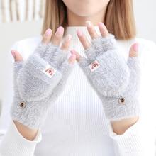 Fingerless-Gloves Cycling Knitted Half-Finger Warm Outdoor Winter Women's Cute New Flip-Cover