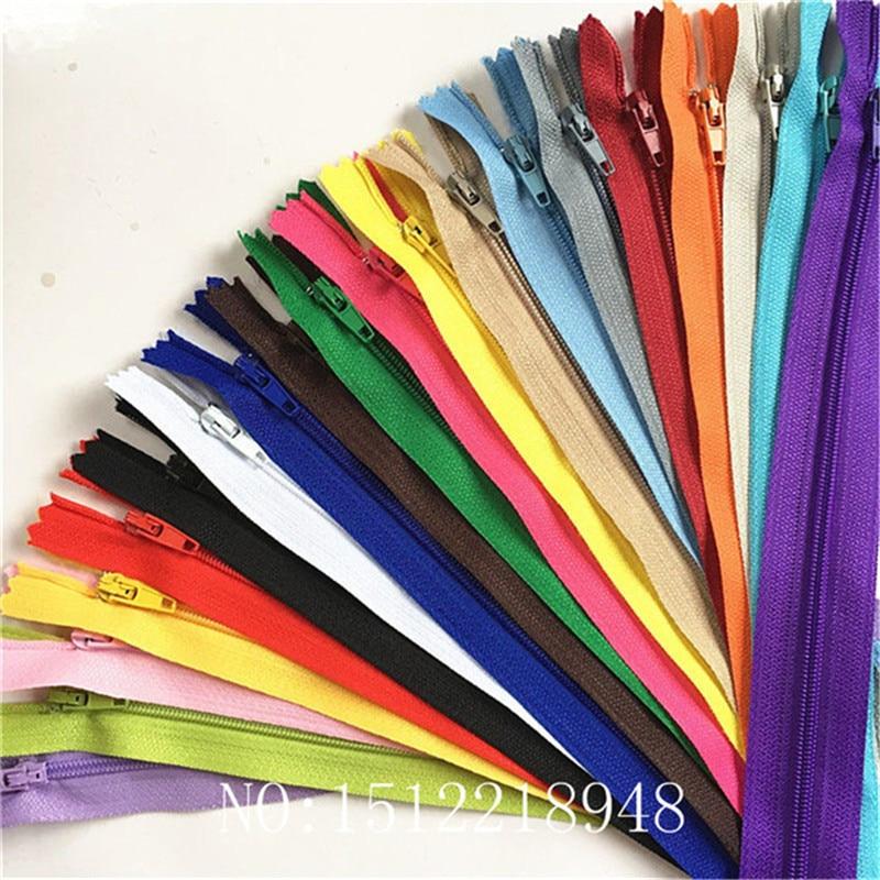 Застежки-молнии нейлоновые 3-24 дюйма (7,5-60 см), 10 шт., 20 цветов