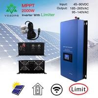 2000W Microinver MPPT On Grid tie Inverte Micro Solar Converter Regulator Inverter With Limiter Sensor 45 90VDC for Solar Panes