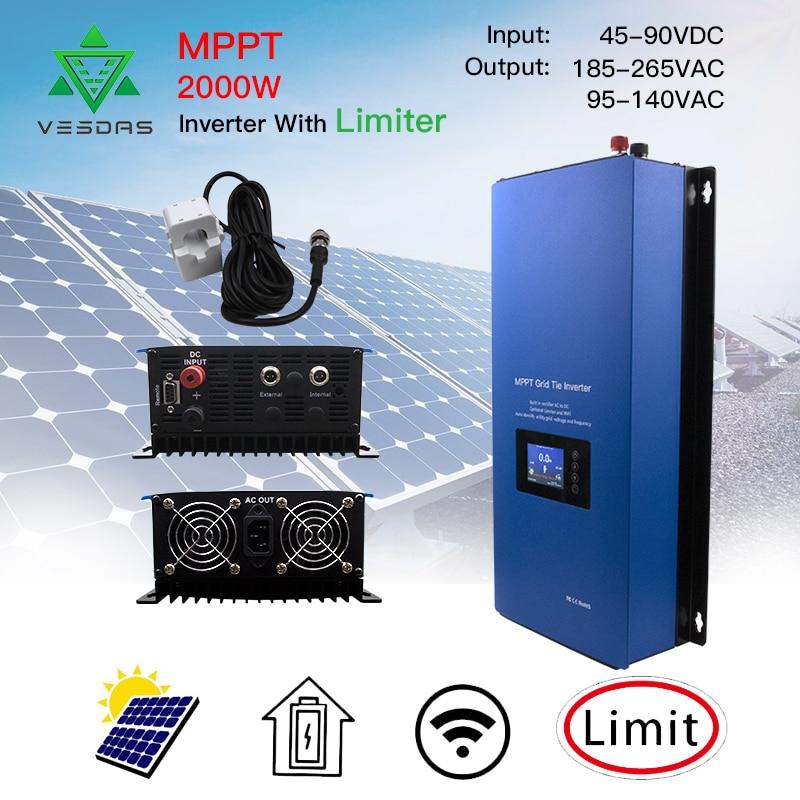 Inverseur solaire de lien de grille de 2000W MPPT avec le Mode d'alimentation de décharge de batterie de capteur de limiteur cc 45-90V c.a. 220V 230V 240V PV connecté