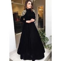 Sexy Elegant Women Formal Gala Long Dress Plus Size Arabic Muslim Black Long Sleeve Evening Prom Dresses Gown 2019