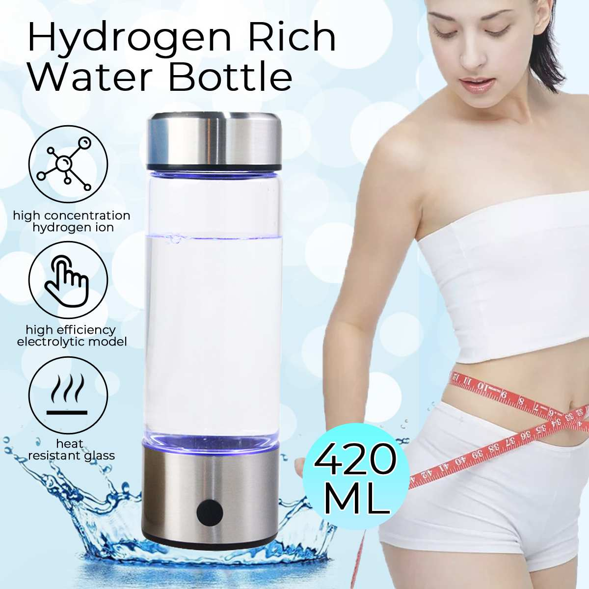 420ML Hydrogens Water Generator Alkaline Maker USB Rechargeable Portable For Pure Hydrogen-rich Water Bottle Filter Electrolysis