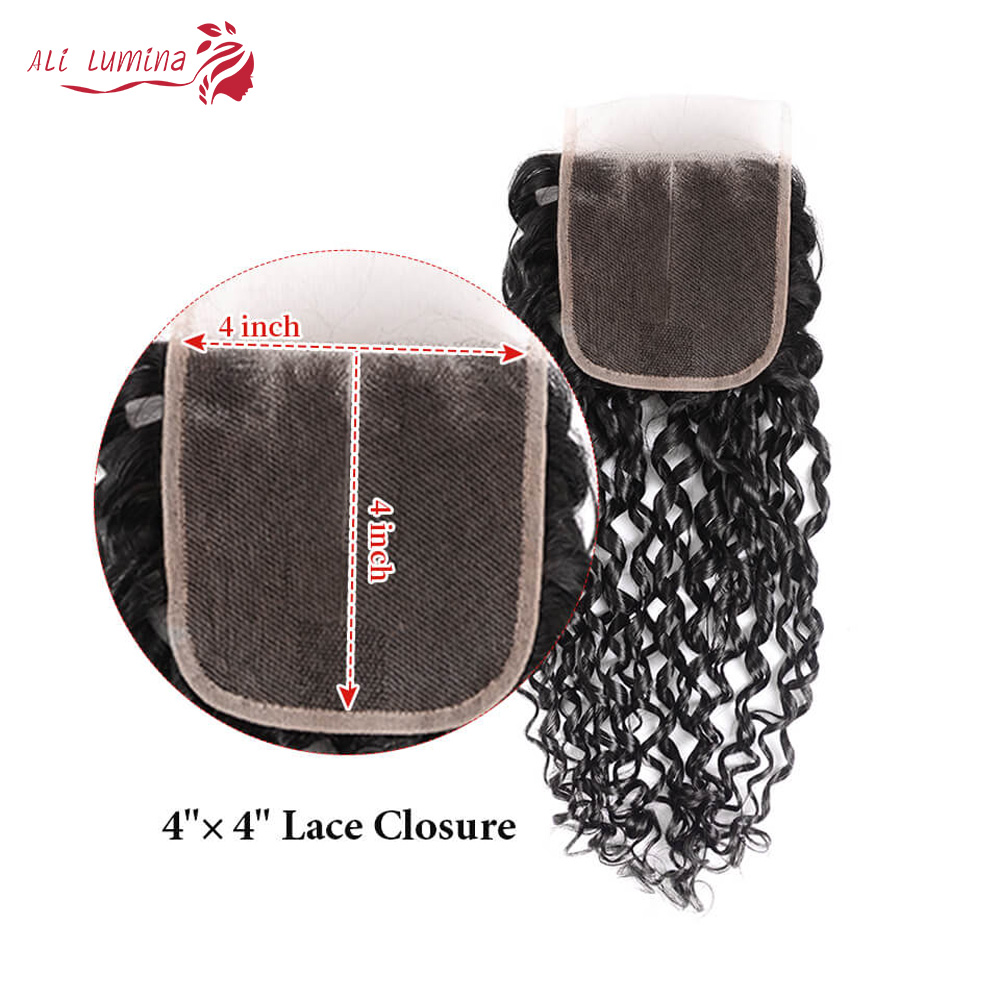 Funmi Telephone Curl 3 Bundles with 4*4 Lace Closure  Human  Hair s 3 Bundle with Closure 6