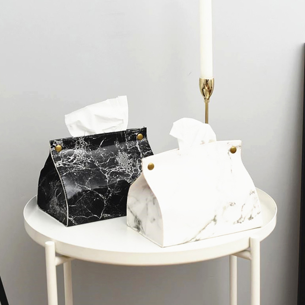 Nordic Style Marble Pattern Tissue Box PU Leather Home Storage Napkin Paper Container Paper Towel Napkin Case Pouch