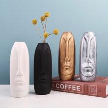 Ceramic 3D Face Flower Vase Figurines Modern Art Desktop Decor Flowerpot Plant Pot for Interior Living Room Decoration