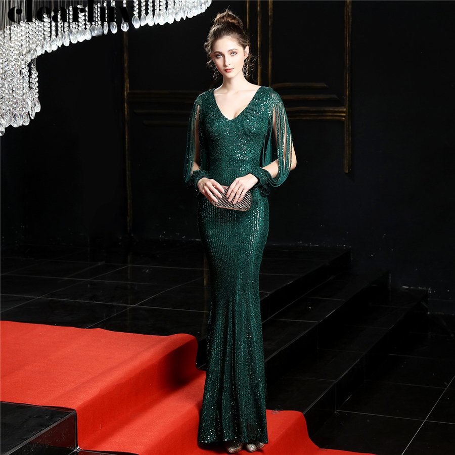 Evening Dresses Long Elegant Sequins Women Party Dress DX254 2019 Plus Size Robe De Soiree Sexy V-Neck Full Sleeves Formal Gowns