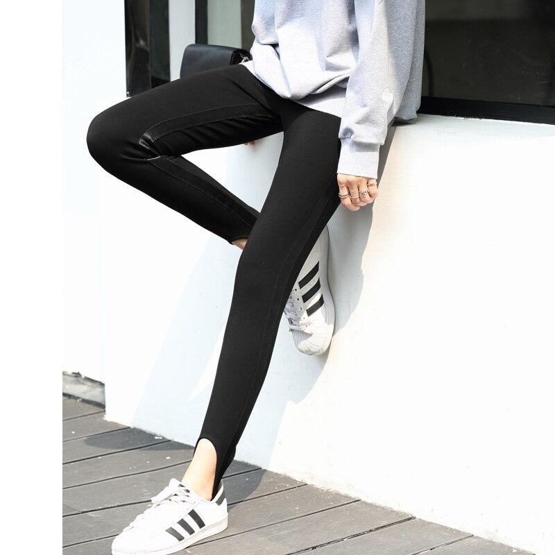 Amii Minimalist Side Stripe Leggings Winter Women Solid Slim Fit Knit Pants 11830225