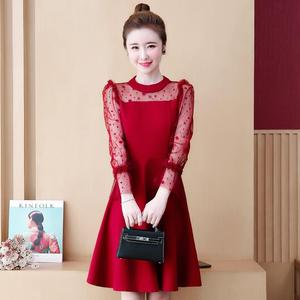 Image 5 - COCOEPPS Big Size Lace Dress Plus Size Autumn Polka dot Mesh Casual vestidos Winter Female Clothes Elegant Party Vestios women