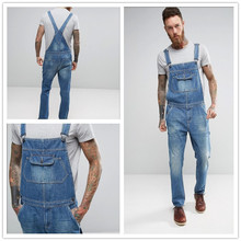 Big Pocket Mens Jeans Overall Siamese Suspender Trousers wit