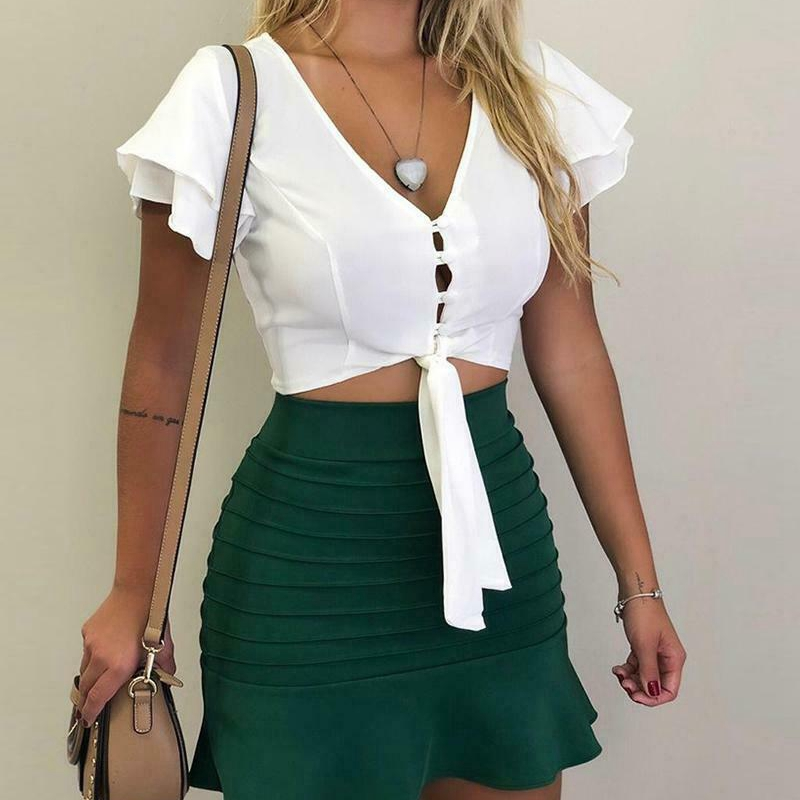 Fashion Elegant Sexy Womens Ruffled Button-Down Hollow Front Tie Bow Knot V Neck Shirt Top Shirt Casual Blouse Solid Color