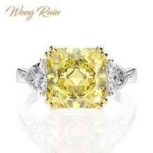 Wong Rain 100% 925 Sterling Silver Created Moissanite Citrine Sapphire Gemstone Wedding Engagement Ring Fine Jewelry Wholesale