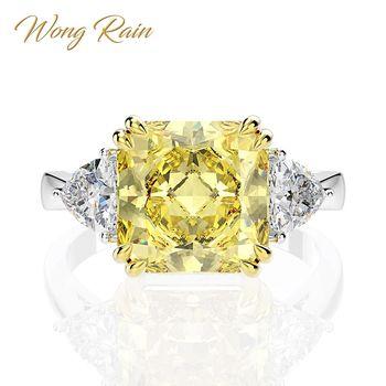 цена Wong Rain 100% 925 Sterling Silver Created Moissanite Citrine Sapphire Gemstone Wedding Engagement Ring Fine Jewelry Wholesale онлайн в 2017 году