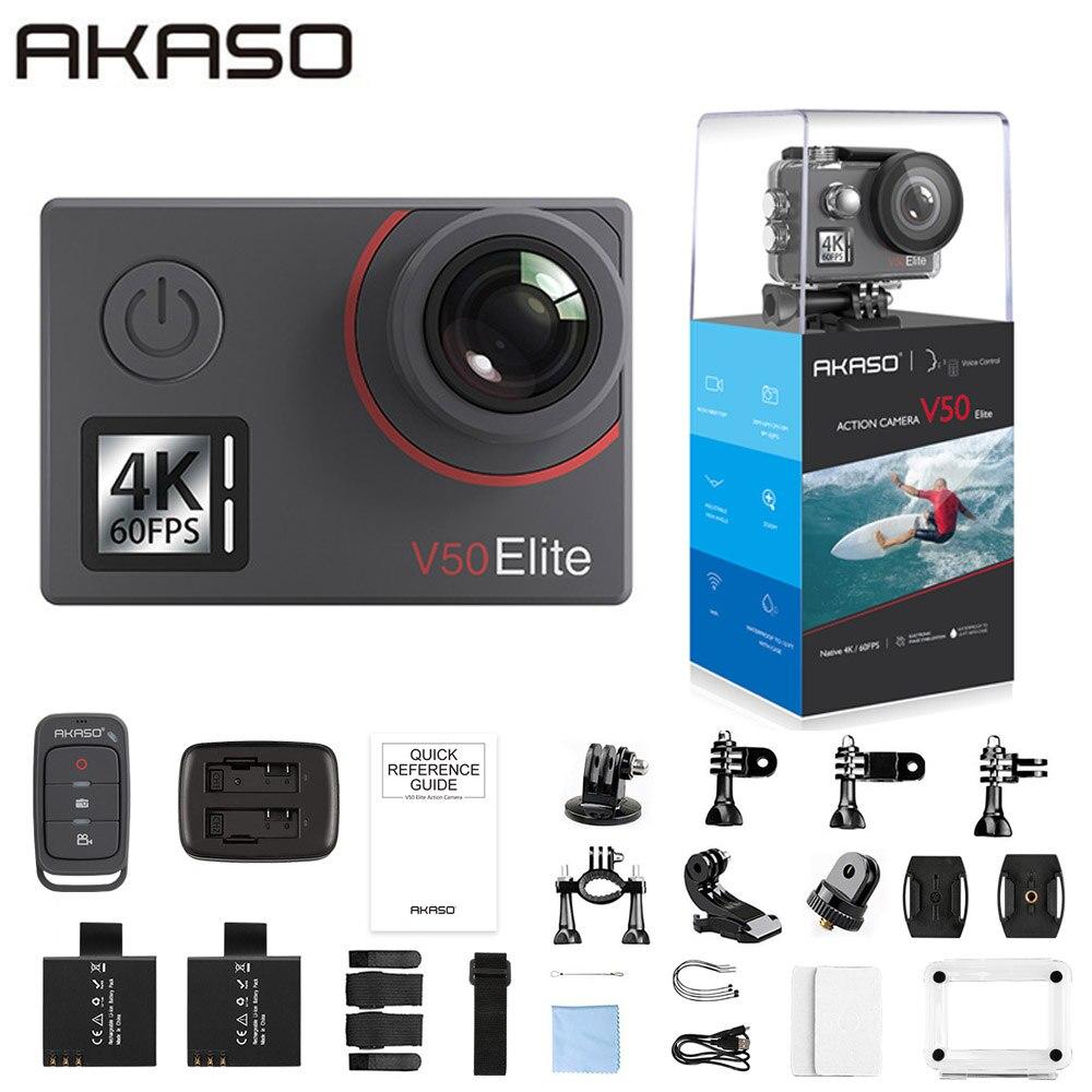AKASO V50 Elite natif 4 K/60fps 20MP Ultra HD 4K caméra d'action Sport WiFi écran tactile commande vocale EIS 40m caméra étanche