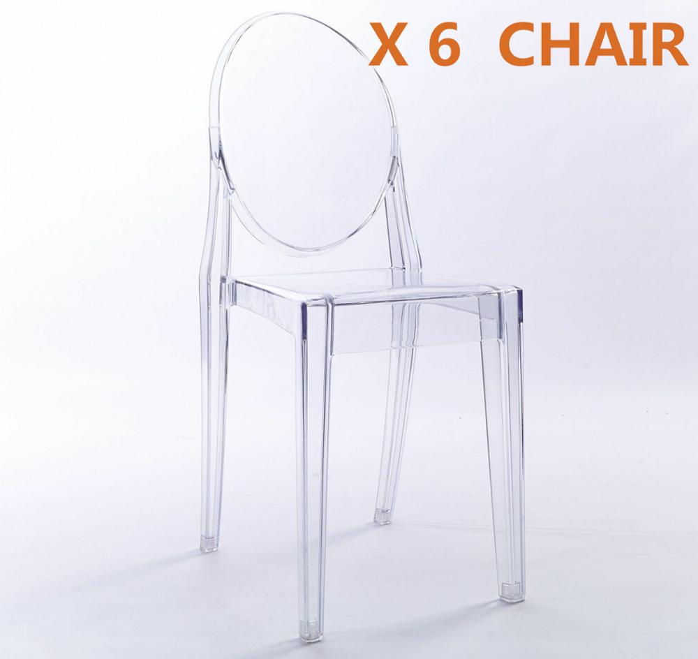 6pcs CLEAR GHOST TRANSPARENT MODERN PLASTIC DINING CHAIR / VANITY DRESSING CHAIR