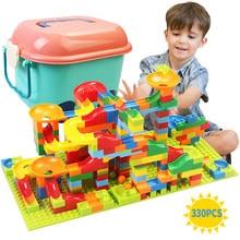 Corrida de mármore pequeno bloco labirinto bola pista blocos de construção funil slide blocos diy montagem tijolos brinquedo para crianças presente
