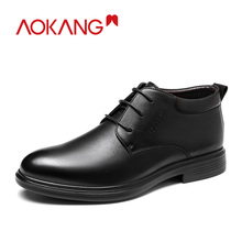 AOKANG Winter Boots Men Genuine Leather Casual Shoes Lace Up Dress Shoes Men Brand Luxury Ankle Boots Zapatos De Mujer Zapatos цена