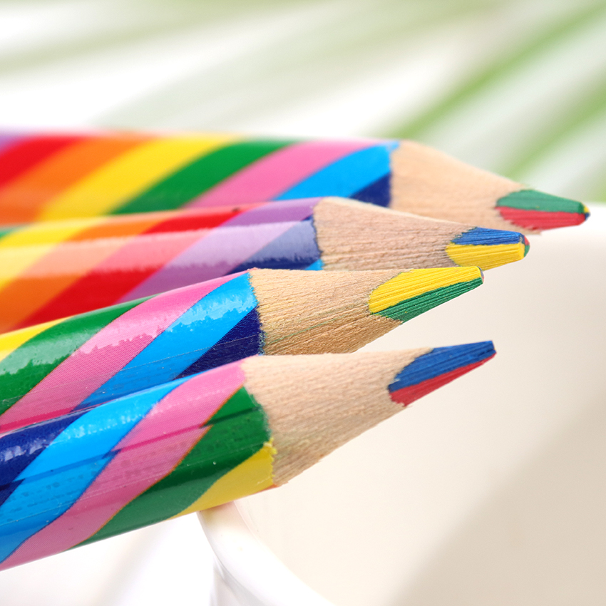 4PCS/Pack Rainbow Color Pencil Set Diy School Supplies 4 Mixed Colors Professional Pencils For Kid Graffiti Drawing