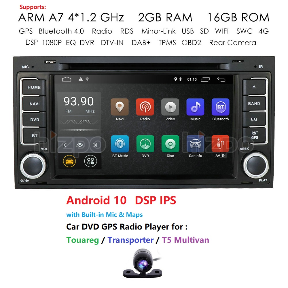 IPS 4G Android10 2din автомобильный dvd плеер для Touareg T5 Transporter Multivan Мультимедиа GPS радио навигация SWC DVR RDS DAB