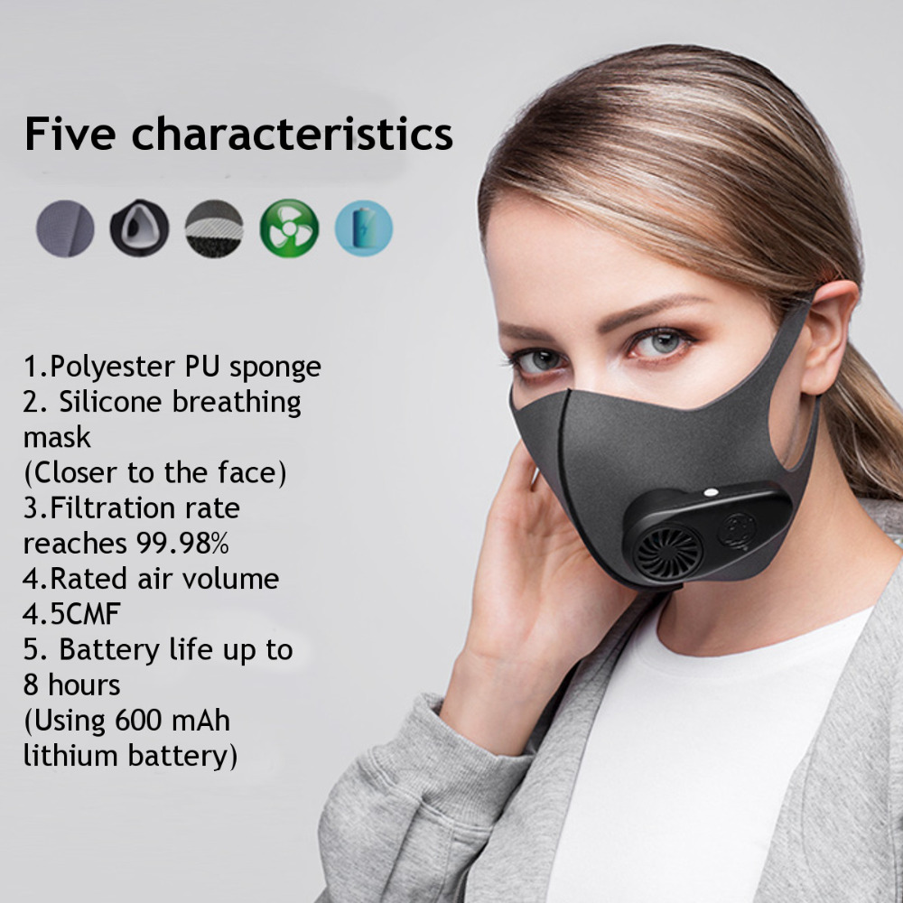 Smart Electric Mask Air Purifying Pollution Breathing Valve Earloop face Masks Anti-dust virus Safe PM2.5 protective mask 19