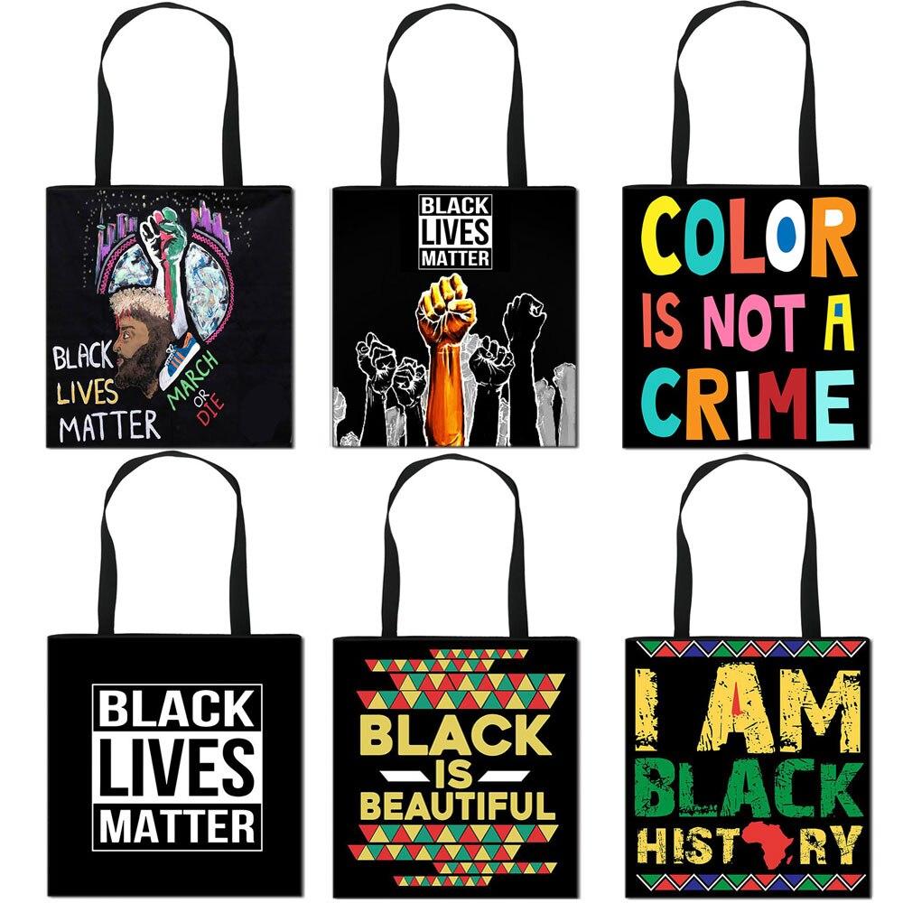 Pride BLM  Fashion Canvas Shoulder Bag American Africa Handbag Women Shopping Bags Adult Travel Bag black lives matter  Casual