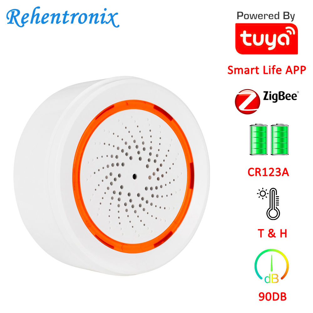 Tuya Smart Temperature Humidity 90DB Battery Built-in Siren Alarm 3 In 1 ZigBee Sensor 90DB Sound Light Sensor