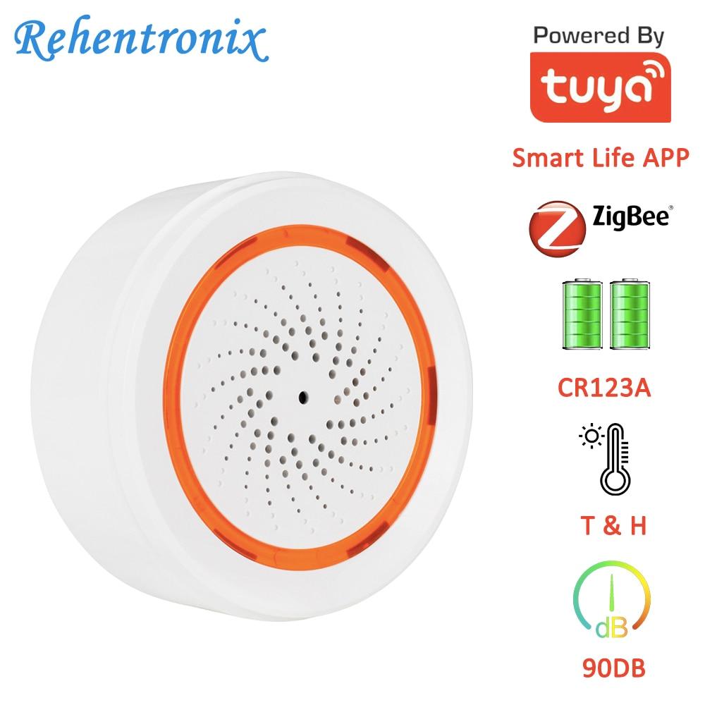 Tuya Smart Temperature Humidity 90DB Battery Built-in Siren Alarm 3 In 1 ZigBee Sensor 90DB Sound Light Sensor