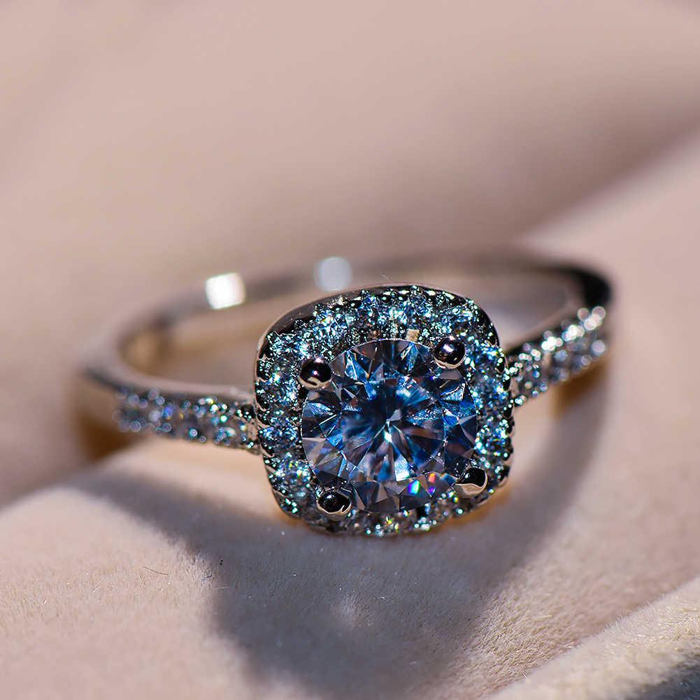 หรูหราหญิงสาวคริสตัล Zircon แหวนเงินสีเจ้าสาวหมั้นแหวน Solitaire แหวนแต่งงานสำหรับผู้หญิง