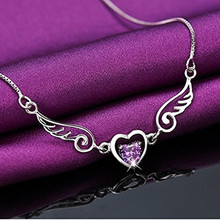 Dream Angels Wings Love Heart Necklace Female Birthday Gift 2 Colors 925 Silver Purple
