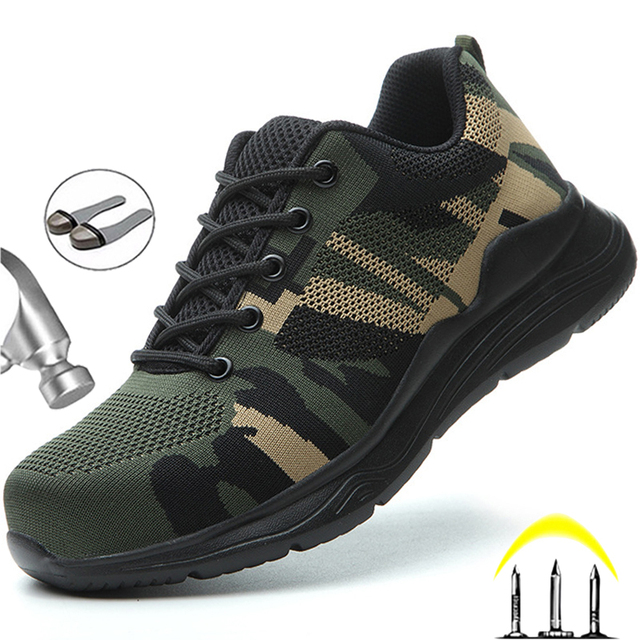 Camouflage Work Shoes -Indestructible Sneakers -1st Men Security Boots  1