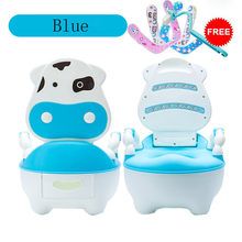 Portable Baby Potty Cartoon Lovely Cow Potty Chair WC Kids Boys Girls Toddler Potty Training Toilet Seat Children's Pot M50#(China)