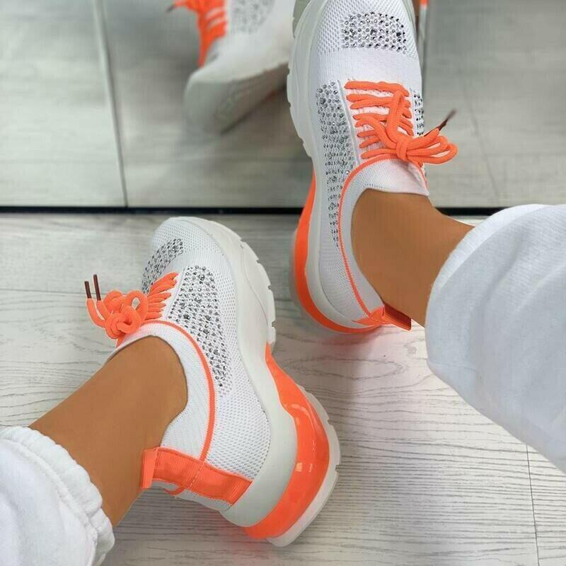 Вулканизированная обувь для женщин, легкие кроссовки, вязаные, на шнуровке, дышащая, повседневная, женская обувь на плоской подошве, модная ...