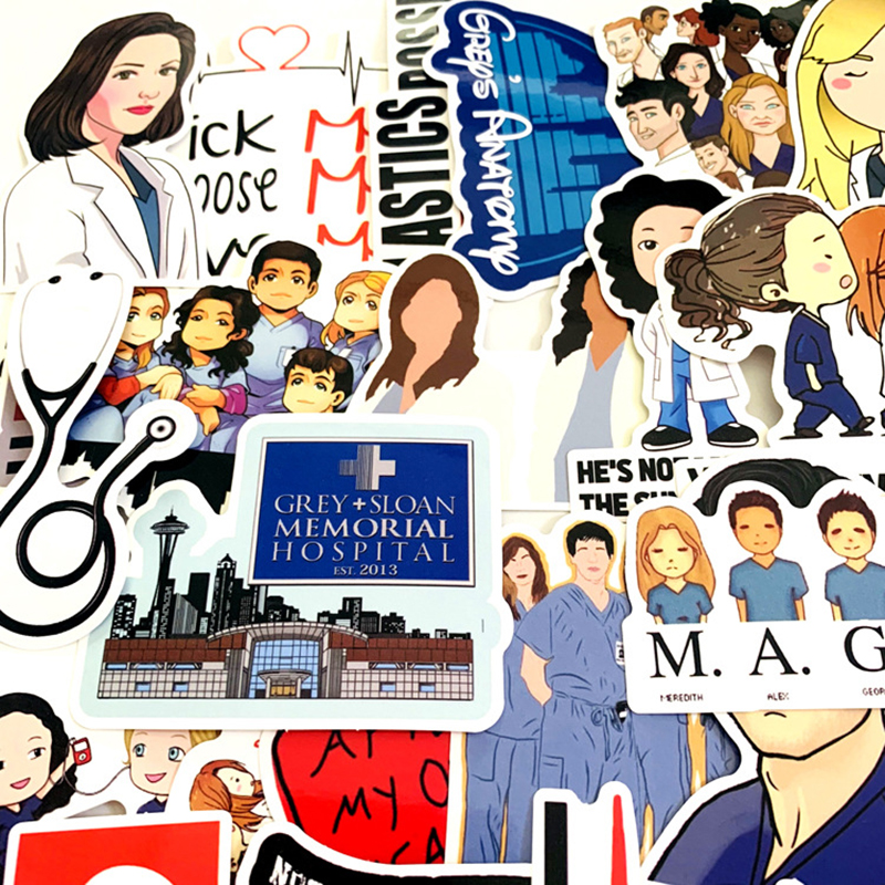 Image 5 - 50pcs TV Show Greys Anatomy Waterproof Stickers Kids Toy Sticker For DIY Luggage Laptop Skateboard Car Decor Funny Sticker F3-in Stickers from Toys & Hobbies