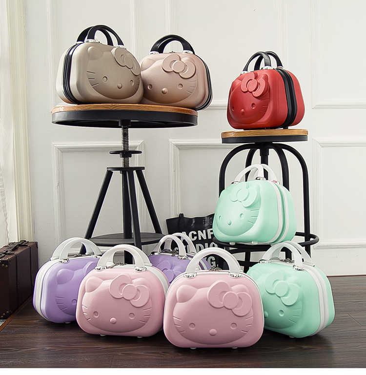 14 inç Hello Kitty kozmetik durumda kutusu güzellik makyaj çantası çanta düzenleyici karikatür Hello Kitty seyahat bavul bagaj saklama çantası