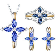 hibride luxury clear cubic zircon women jewelry sets bridal wedding wihte gold color necklace set parure bijoux femme n 280 Fashion Blue Crystal Cross Jewelry Set Women Gold Silver Color Necklace Earring Ring Bridal Jewelry Sets Female Bijoux Gifts
