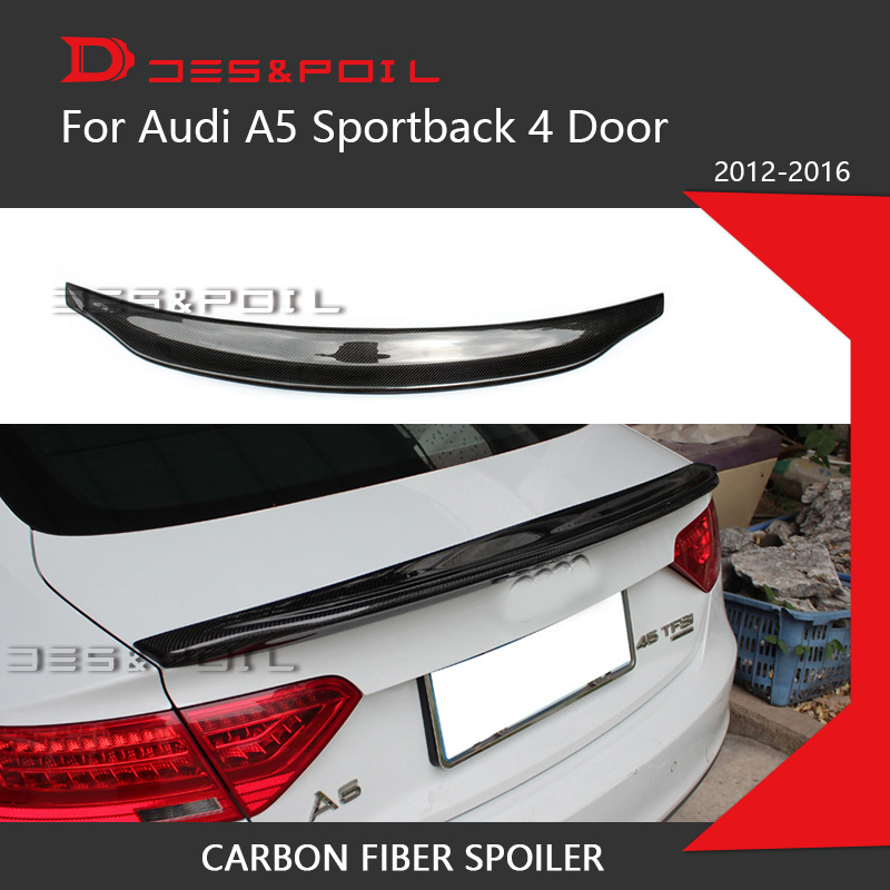 For <font><b>Audi</b></font> <font><b>A5</b></font> <font><b>Sportback</b></font> Carbon Fiber Spoiler Carater-e Style Trunk lip Bootlid 4 Door 2012-2016 image
