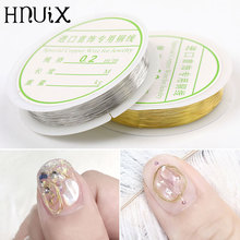 HNUIX 1 Roll of Copper Wire Nail Art Decoration DIY Charm Line Design 3D Tips Gold Silver Rhinestone Jewelry Manicure Supplies mix design 100pcs new 3d silver red alloy rhinestone bow tie nail art decoration diy charm nail jewelry accessories ml153 ml170